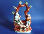 Charming Victorian Staffordshire Pottery Arbor Group with Girl, Boy and Deer c1870